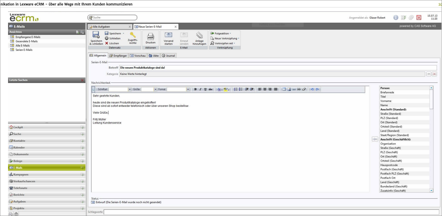 Lexware CRM Screenshot